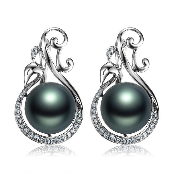 白羽凤凰  大溪地黑珍珠钻石吊坠 白18K金女式耳坠
