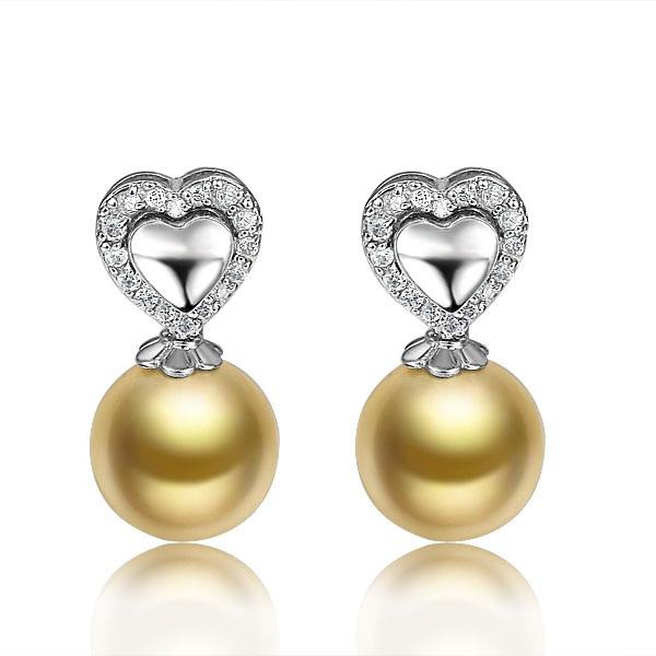 非凡丽质-白18K金南洋金珠女式耳坠