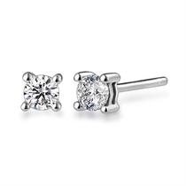 【铛铛】 白18k金20分/0.2克拉钻石耳钉