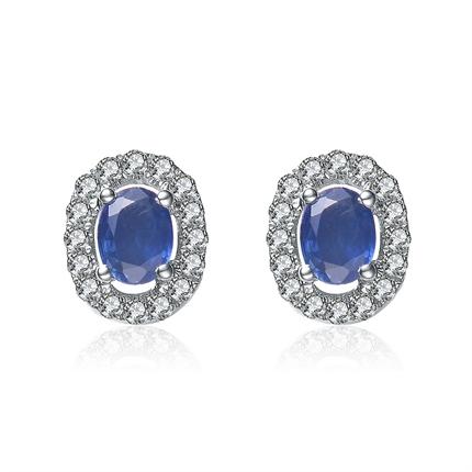 【花莲】 白18k金天然蓝宝石钻石耳钉