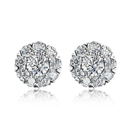 【暖光】 白18k金钻石耳钉