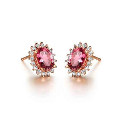 【激情】 18K玫瑰金巴西红碧玺镶南非钻石耳钉