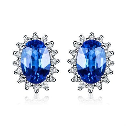 【激情】 白18K金斯里兰卡蓝宝石钻石耳钉