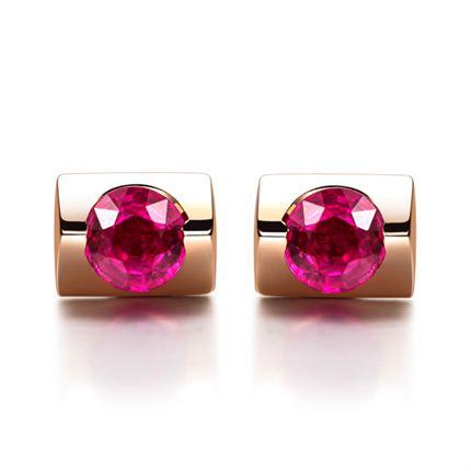 【知性】 玫瑰金红宝石女士耳钉