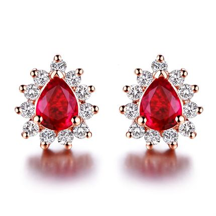【甜心】 玫瑰金0.3克拉红宝石女士耳钉