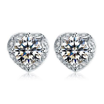 【浪漫的心】系列 白18K金钻石女士耳钉