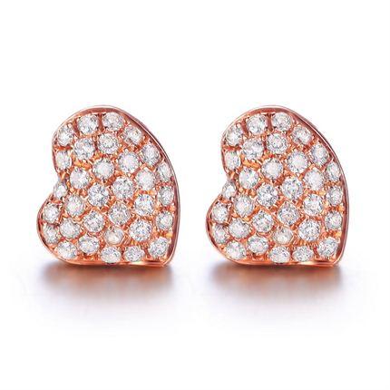 【心星】 玫瑰金钻石耳钉