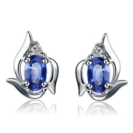【蓝色爱情】 白18k金蓝宝石镶钻石耳钉