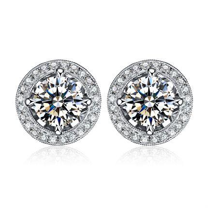【闪耀】系列 白18K金钻石女士耳钉