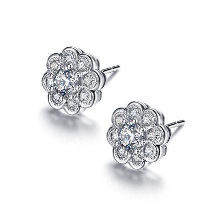 【梅花】系列 白18K金钻石女士耳钉