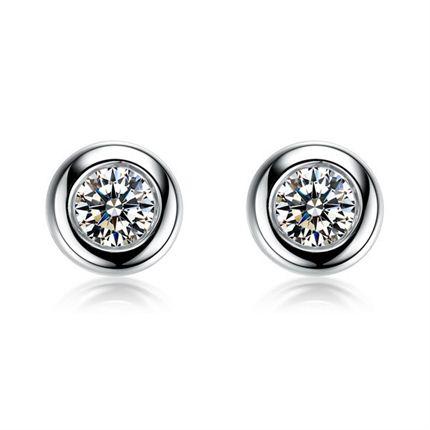 【波点】系列 白18k金显钻款钻石耳钉(有三色可定制)