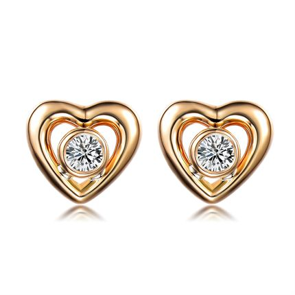 【桃心】 黄18K金钻石女士耳钉