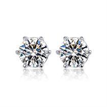 【真爱】系列 白18K金钻石女士耳钉