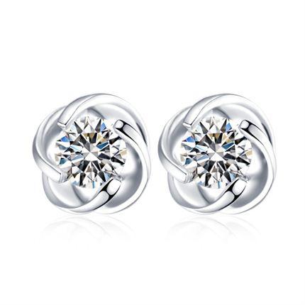 【温情】 白18K金钻石女士耳钉