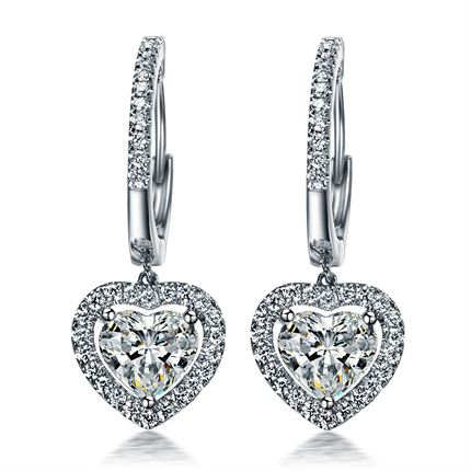 【浪漫的心】系列 白18K金60分钻石耳环