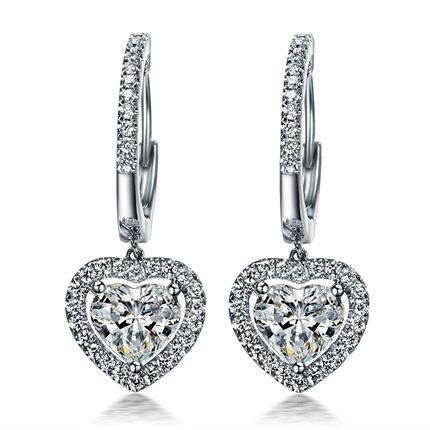 【怦然心动】 白18K金60分钻石耳环