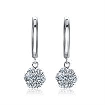 【爱的绽放】 白18k金钻石耳钉女真钻群镶结婚耳环