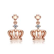 【桂冠】 玫瑰金1分/0.01克拉钻石女士耳坠