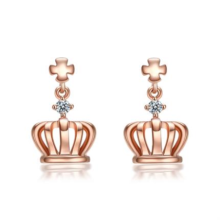 【小皇冠】 玫瑰18K金皇冠钻石耳坠时尚耳环