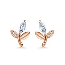 【橄榄枝】 18k玫瑰金镶钻树叶钻石耳钉耳环