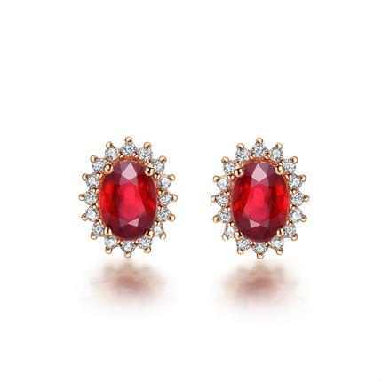 【激情】系列 玫瑰18K金红宝石耳钉