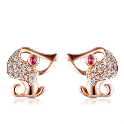 【萌宠】系列 玫瑰18k金钻石镶红宝石耳钉