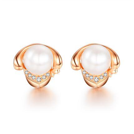【萌寵】系列 玫瑰金18K金珍珠鉆石女士耳釘