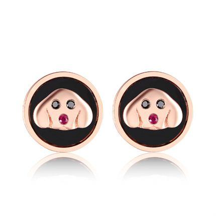 【萌宠】系列 玫瑰18k金黑钻镶红宝石钻石耳钉