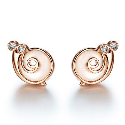 【幸运精灵-蜗牛小姐】 玫瑰18K金钻石女款耳钉
