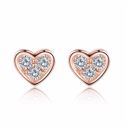 【小心情】 玫瑰18K金时尚心形钻石耳钉