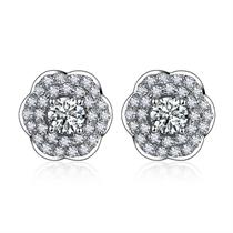 【樱花】系列 白18K金钻石耳钉