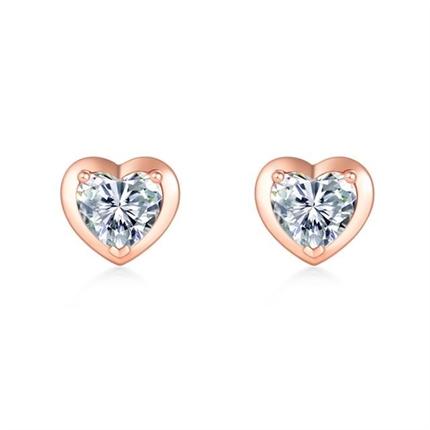 【怦然心动】 18k玫瑰金钻石宝石彩金镶钻心形耳钉