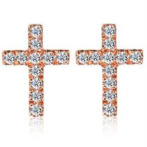 【尼罗河的爱】系列 玫瑰18K金十字架钻石耳钉