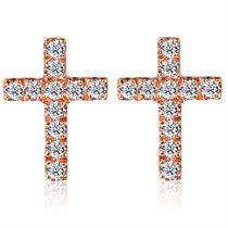 【尼罗河的爱】 玫瑰18K金十字架钻石耳钉