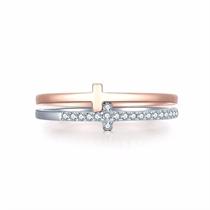 【信仰】 白红18K金钻石戒指时尚女款钻戒