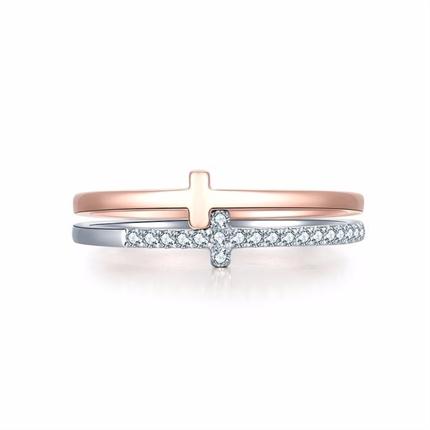 【独家印记-信仰】 白红18K金钻石戒指十字架钻戒