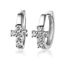 【爱的十字架】 白18k金1.4分/0.014克拉钻石耳钉