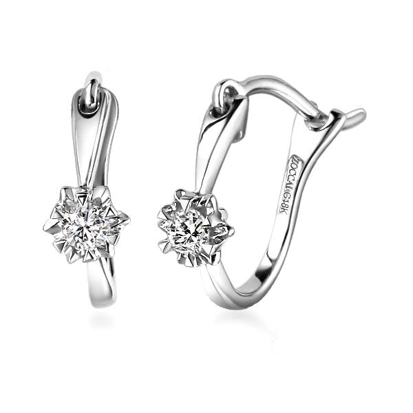 白18K金钻石13分/0.13克拉钻石女士耳钉-迷情