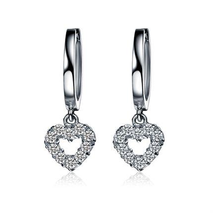 【心吻】 白18k金钻石耳环【可定制玫瑰18K金】