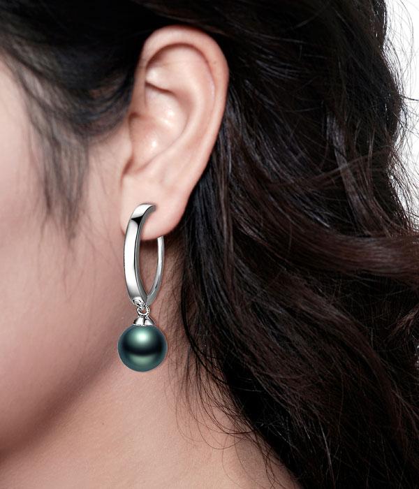 佐卡伊 神秘华彩 大溪地黑珍珠耳坠-白18K金女式耳环