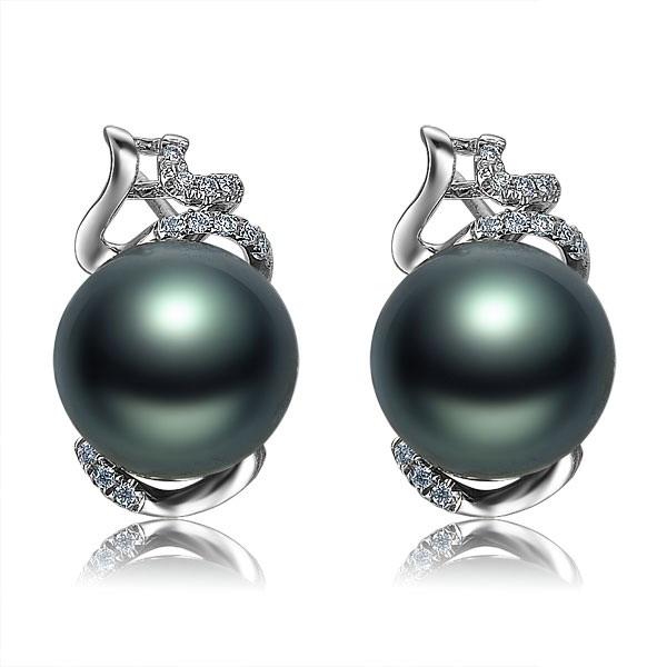 佐卡伊 玲珑  大溪地黑珍珠耳钉-白18K金女式耳环