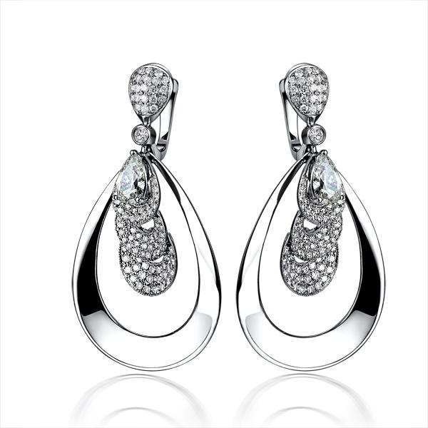 白18K金钻石60分/0.60克拉钻石女士耳钉-孔雀翎 梦幻款