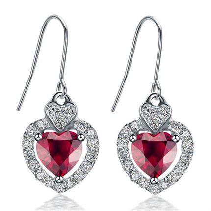 【心悦】 白18k金0.56克拉天然红宝石耳环