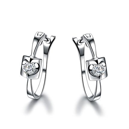 【天籁】 白18K金0.10克拉钻石耳环