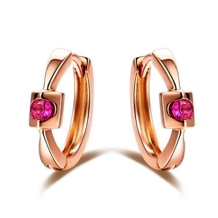 【倾心】 玫瑰金0.09克拉天然红宝石耳环