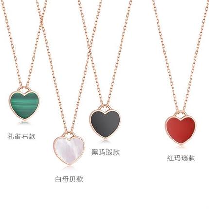 【小红心】 18k玫瑰金心形项链红玛瑙宝石锁骨链