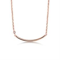 【几何】 玫瑰18K金几何形锁骨钻石项链吊坠
