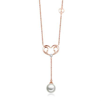 【一鹿有你】系列 玫瑰18K金钻石项链锁骨链牌珍珠吊坠