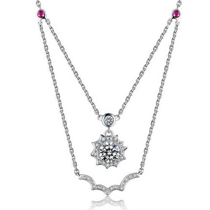 【咱们相爱吧】 白18K金钻石镶红宝石项坠