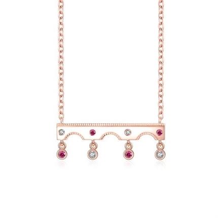 【愛在巴黎橋】 18K玫瑰金紅寶石鉆石鏈接吊墜